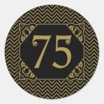 75.o cumpleaños de Chevron Etiqueta Redonda