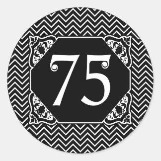 75.o cumpleaños de Chevron Pegatina Redonda