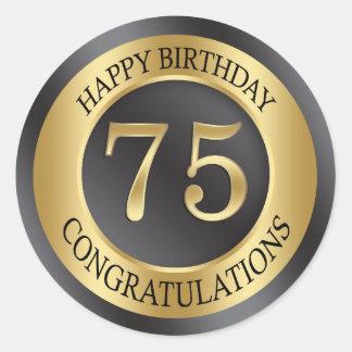 75.o cumpleaños del efecto de oro pegatina redonda