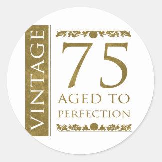 75.o cumpleaños del vintage de lujo pegatina redonda