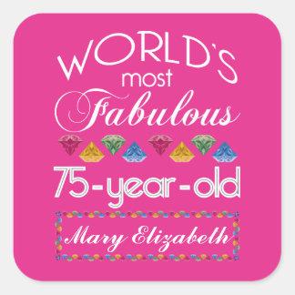 75.o Cumpleaños la mayoría del rosa colorido Calcomania Cuadradas Personalizada