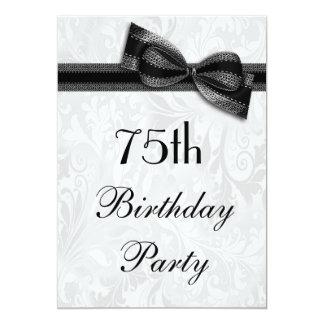 75.o Damasco de la fiesta de cumpleaños y falso Invitación 12,7 X 17,8 Cm