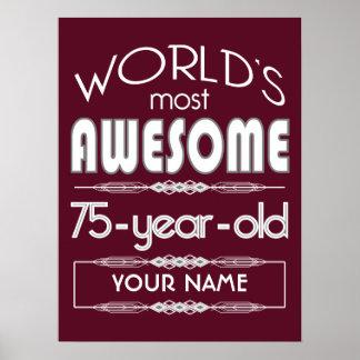75.o Del cumpleaños de los mundos rojo oscuro Póster