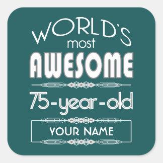75.o Del cumpleaños de los mundos verde oscuro Pegatina Cuadrada