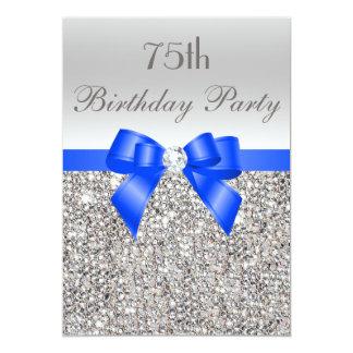 """75.o Diamante de plata del arco del azul real de Invitación 5"""" X 7"""""""