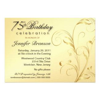 75 o Fiesta de sorpresa del cumpleaños - oro elega