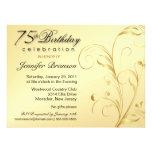 75.o Fiesta de sorpresa del cumpleaños - oro flora Invitación