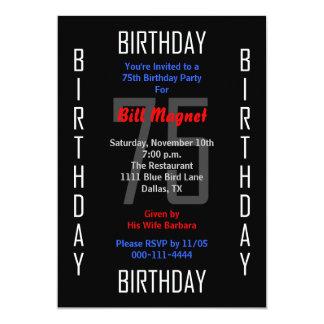 75.o Invitación de la fiesta de cumpleaños - 75 Invitación 12,7 X 17,8 Cm