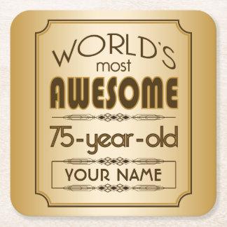 75.o mundo de la celebración del cumpleaños del posavasos desechable cuadrado