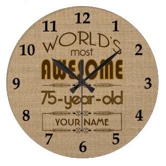 75.o Mundo de la celebración del cumpleaños mejor Reloj Redondo Grande