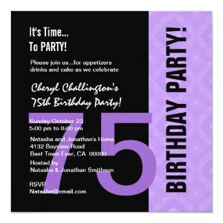 75.o Negro púrpura moderno C848 del cumpleaños Invitación 13,3 Cm X 13,3cm