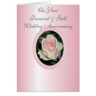 75 o rosa feliz de la tarjeta del aniversario de b