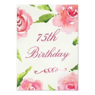 75.o Rosas elegantes de la acuarela del cumpleaños Invitación 12,7 X 17,8 Cm
