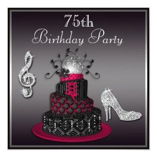 """75.o Rosas fuertes de la torta y de los talones de Invitación 5.25"""" X 5.25"""""""