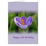 75.o Tarjeta de cumpleaños con la flor púrpura y b