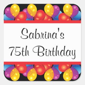 75.o Texto de la fiesta de cumpleaños el | DIY Pegatina Cuadrada