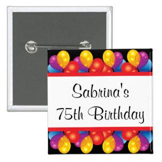 75.o Texto de la fiesta de cumpleaños el | DIY Pin Cuadrado