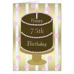 75.o Torta de la tarjeta de cumpleaños en rosa