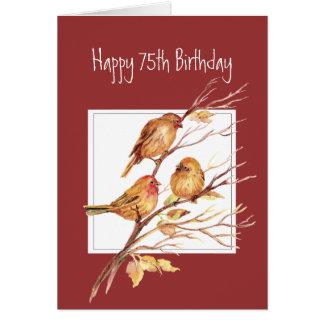 75.os gorriones de canción felices lindos del cump tarjeta de felicitación