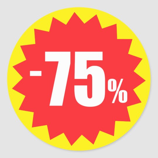 75 percent sale discount stickers, yellow and red classic round sticker