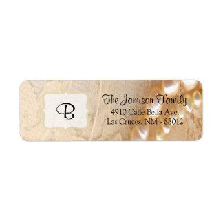 """.75"""""""" perla y cordón de la etiqueta del remite x2. etiqueta de remite"""
