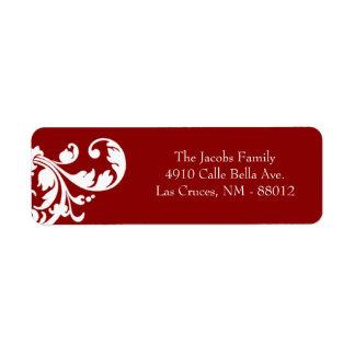 ".75"""" rojo carmesí de la etiqueta del remite x2.25 etiqueta de remite"