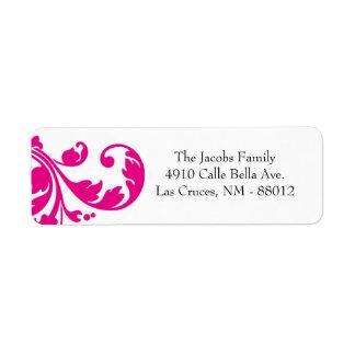 ".75"""" rosas fuertes de la etiqueta del remite x2.2 etiquetas de remite"