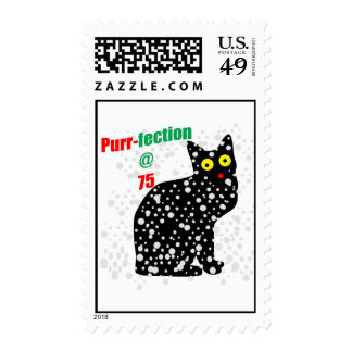 75 Snow Cat Purr-fection Postage Stamp