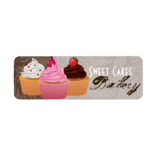 ".75""x2.25"" Cup Cakes Bakery Swee Product Tag Label Return Address Label"