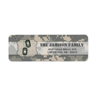 """.75""""x2.25"""" Return Address Label ARMY ACU Uniform"""
