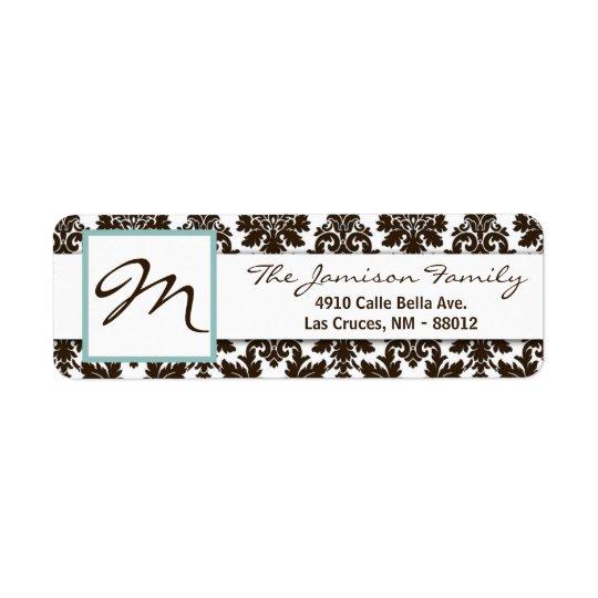 ".75""x2.25"" Return Address Label Brown Tiffa Damask"