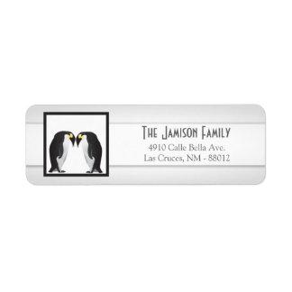".75""x2.25"" Return Address Label Penguins Mate Life"