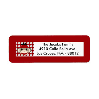 ".75""x2.25"" Return Address Label Red Sock Monkey"