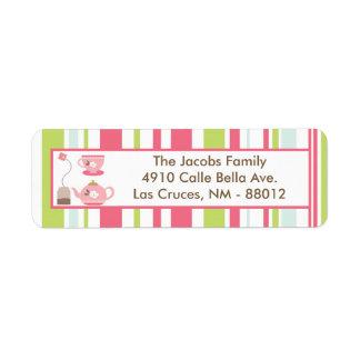 ".75""x2.25"" Return Address Label Tea Party Pink"