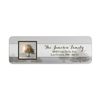 ".75""x2.25"" Return Address Label Winter Sunset Tree"