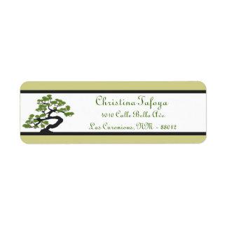 """.75"""" x 2,25"""" bonsais verdes japoneses del remite etiqueta de remite"""