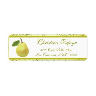 """.75"""" x 2.25"""" Return Address Lime Green Pear Swirls Custom Return Address Label"""
