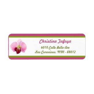".75"" x 2.25"" Return Address Pink Orchid Long Stem Label"