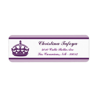 ".75"" x 2.25"" Return Address Royal Purple Crown/Swi Return Address Label"