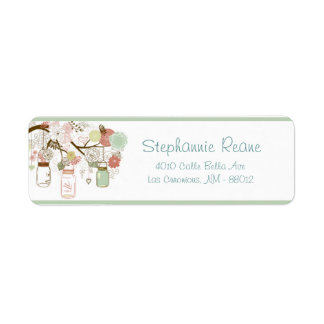 ".75"" x 2.25"" Return Address Spring Floral Mason Ja Return Address Labels"