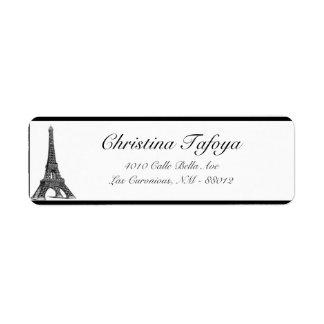 ".75"" x 2,25"" torre Eiffel del negro del remite Etiquetas De Remite"