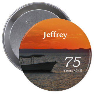 75 Years Old, Fishing Boat Button Pin