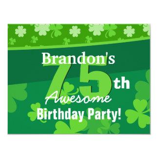 75th Awesome Birthday Green Shamrocks G002G Card