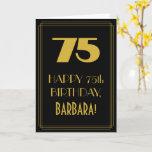 "[ Thumbnail: 75th Birthday ~ Art Deco Inspired Look ""75"" & Name Card ]"
