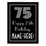 "[ Thumbnail: 75th Birthday — Art Deco Inspired Look ""75"" + Name Card ]"