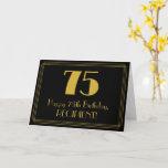 "[ Thumbnail: 75th Birthday: Art Deco Inspired Look ""75"" + Name Card ]"