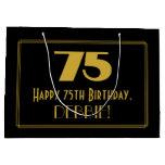 "[ Thumbnail: 75th Birthday — Art Deco Inspired Look ""75"" & Name Gift Bag ]"