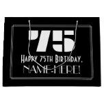 "[ Thumbnail: 75th Birthday ~ Art Deco Inspired Look ""75"" + Name Gift Bag ]"