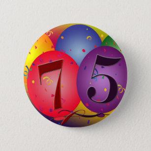 75th Birthday Balloons Pinback Button