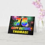 [ Thumbnail: 75th Birthday: Bold, Fun, Fireworks, Rainbow 75 Card ]